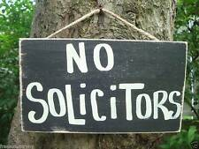 NO SOLICITORS SHABBY CHIC COUNTRY WOOD PRIMITIVE RUSTIC HOUSE HOME SIGN PLAQUE