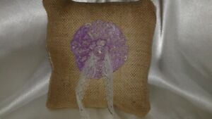 Tan burlap &  lace lavender embroidered motif center Pillow New pinklady cottage