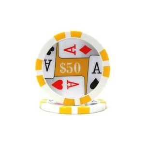 25 Yellow $50 11.5 Gram 4 Aces Poker Chips