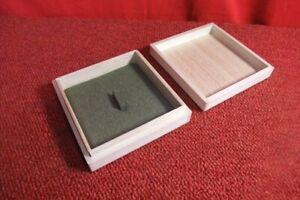 Wood Box For Tsuba Japanese Sword Guard Green