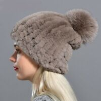 Winter Hat Fashion Women Beanies Solid Elastic Rex Rabbit Fur Cap Knitted Pompom