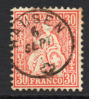 Switzerland 30 Cent Stamp c1862-64 Used (3180)