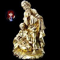 "Large 15"" Gold Ceramic Porcelain Mary & Jesus Statue Very detail MINT CONDITION!"