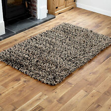 Small Medium Large 7cm Thick Pile Wool Shaggy Multi Color Clearance Rugs 170x240cm D Grey