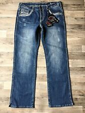 Cowgirl Tuff Barbed Wire Tan Jeans Size 34 x 33 Thick Stitch NEW