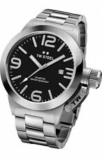 Mens TW Steel 45mm Canteen Bracelet Stainless Steel Black Dial Date Watch CB1