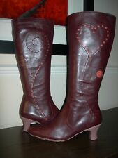 CAMPER WOMEN'S BOOTS CALF LENGTH CHERRY BROWN LEATHER EU 41- 42 / UK 8- 9 SLIM