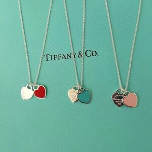 Return To Tiffany & Co Double Heart Pendant 925 Sterling Silver Necklace Chain