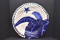 "BLUE SKY Ceramics CLAYWORKS Magic SEA DIANE Turtle Pottery Platter TRAY LG 14.5"""
