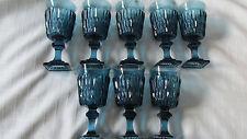 SET OF 8 VINTAGE INDIANA GLASS CO. MOUNT VERNON BLUE TEAL WINE/CORDIAL  GLASSES