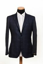 New SARTORIO Napoli by KITON Wool Linen Jacket Checks Dark Blue 40 US 50 EU 7R