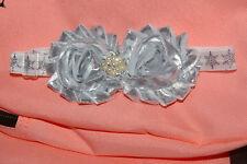 Silver & White Infant Girl Headband Handcrafted Fake Rhinestones Pearls Baptism