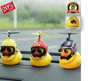Figurine For Car Dashboard Display Lucky Duck With Helmet & Chain Ornament NEW ✅