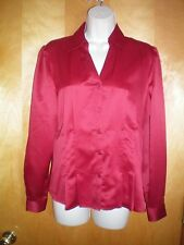 NWT NEW womens size M red EAST 5TH fitted l/s satin blouse shirt $30 retail