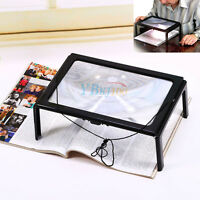 Ultrathin A4 Full Page PVC Magnifier 3X Foldable Reading W/ 4 LED Lights USPS