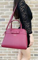 Kate Spade Kirk Park Julita Saffiano Bag Satchel Black Cherry Burgundy Bow