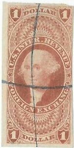 US Revenue Stamps. $1 Foreign Exchange. Scott# R68a. Used.