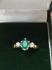 18ct Yellow Gold Emerald & Diamond Ring 0.20 Ct