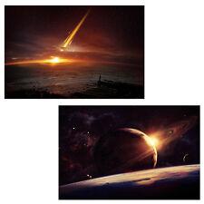 2x LED-Bild mit Beleuchtung Leinwandbild 60x40cm, Timer Planet