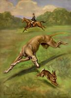 Antique GREYHOUND Dog Print  Beautiful 1950s Gallery Wall Art Megargee Art 3895k
