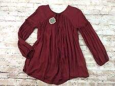 Coco and Carmen Womens Top L/XL Red Peasant Tie Neck Balloon Sleeve Elastic Cuff