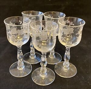 Cut Glass Cordial Glasses Liqueur Glasses Set of 5 Etched with Roses