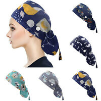 Surgical Scrub Cap Women Ladies Medical Vet BlueYellow Flowers Buttons Added