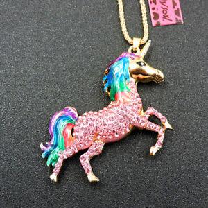 Rainbow Betsey Johnson Pink Crystal Holy Unicorn Animal Pendant Necklace