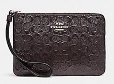 "*NEW ""COACH"" CORNER ZIP SIGNATURE DEBOSSED PATENT LEATHER WRISTLET - WITH TAGS!"