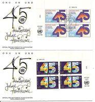 United Nations / Geneva SC # 188-189 UN 45th Anniversary FDC. Inscription BLK4
