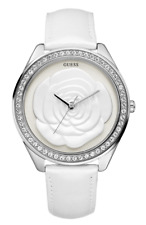 Guess W85075L1 Women Watches : White Rose 46mm Large Case Jewelry White Leather