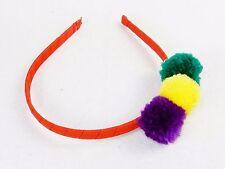 Girl's Headband, Hair Restraint ~ Colorful Fuzzy Pom Pom Balls On Red Ribbon