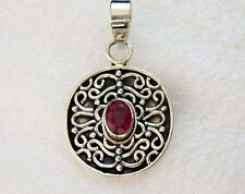 Genuine Ruby Pendant in 925 Sterling Silver -- 1.1 cts, 5 grams