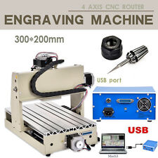 CNC Engraver Router 3D Engraving Milling Drilling Machine 300W 3020 4 AXIS  USB