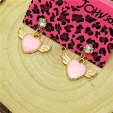 Hot Pink Enamel Cute Angel Wing Heart Crystal Betsey Johnson Women Stand Earring