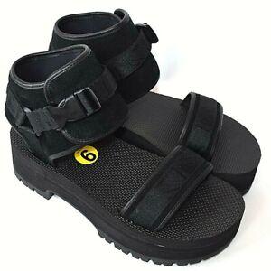 TEVA Indio Jewell Black Suede Leather Platform Sandals 1103274 Womens 9 NEW