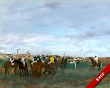THE HORSERACE HORSE RACE TRACK EDGAR DEGAS PAINTING ART REAL CANVAS GICLEE PRINT