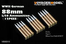 Voyager VBS0313 1/35 WWII German 88mm L/56 Ammunition (12PCES) (GP)
