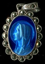 BEAUTIFUL BLUE ENAMEL & STERLING OUR LADY OF LOURDES MEDAL PENDANT WITH MARCASIT