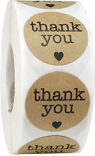 Brown Kraft with Black Thank You Stickers, 1 Inch Round, 500 Labels on a Roll
