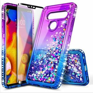 For LG V35 ThinQ/V30S/V30 Plus Case Liquid Glitter Phone Cover +Screen Protector