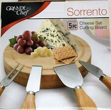 Sorrento Grand Chef Cheese Set Cutting Board 5 pc Set In Box Holiday Gift Party