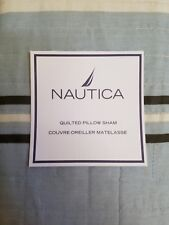 New Nautica West End Brown Blue Quilted Standard Pillow Sham
