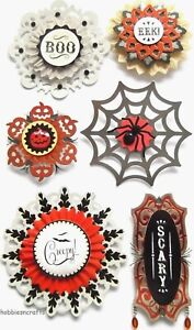 LARGE DOILY MEDALLIONS Jolee's 3-D Gemstone Stickers Spiders Halloween