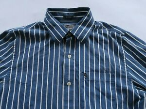 Abercrombie Mens Cotton Muscle Fit LS Button Up Blue White Striped Dress Shirt M