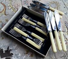 Vintage Boxed Set of 6 Pairs of Heavy English Chrome Fish Knifes & Forks