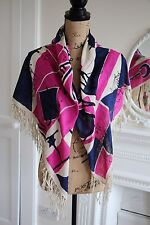 Rare ISABEL MARANT raw silk scarf I'M NOT YOUR MOTHER pink blue cream fringes !!