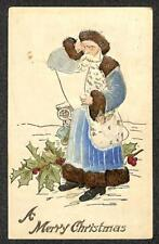 CHRISTMAS HOLIDAY BLUE SUITED SANTA CLAUS AIRBRUSHED NOVELTY POSTCARD 1909