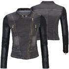Femmes Veste mi-saison motard jeans simili-cuir manche Denim D-146 NEUF