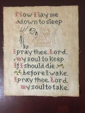 Antique Sampler Cross Stitch Now I Lay Me Down To Sleep